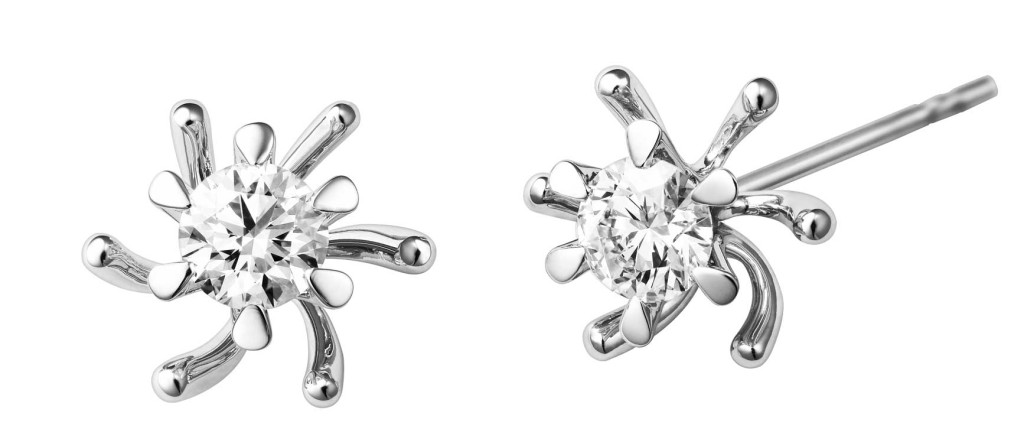 Tara earrings in white gold with solitaire diamonds, Selberan