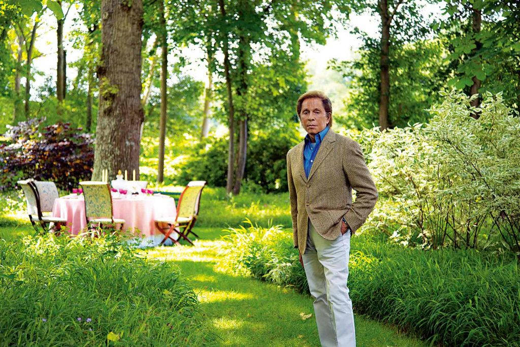 Wideville, Valentino invites his guests to his gracious table set for afternoon tea in the garden