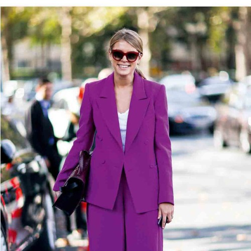 Paris Fashion Week showgoer demonstrates purple reign