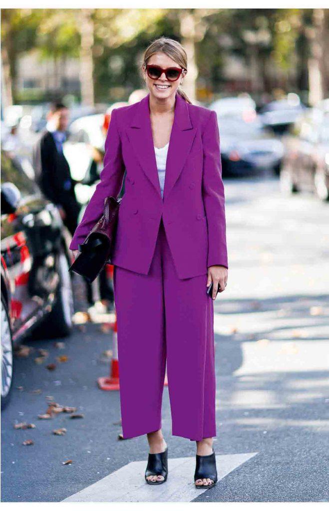 Paris Fashion Week showgoer demonstrates purple reign