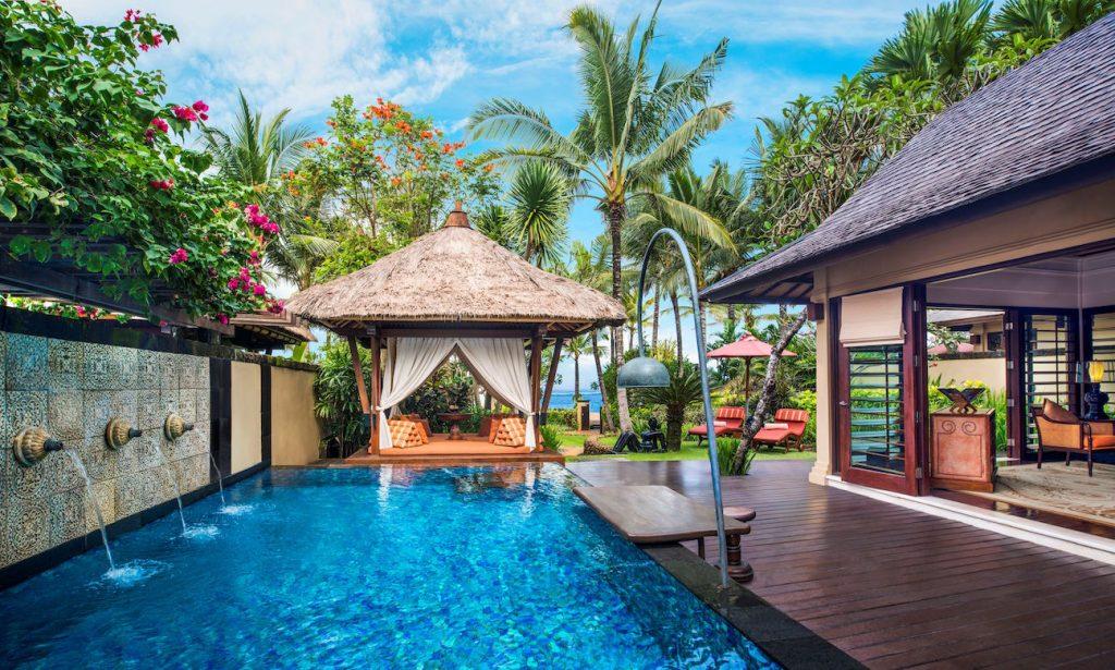 The Private Pool and Gazebo at The Strand Villa_ STREGISBALI