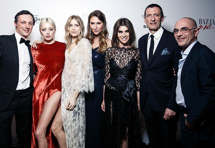 From L-R: Image 003: Jean De Witt, Caroline Vreeland, Elena Perminova, Dasha Veledeeva, Carine Roitfeld, Alexander Vreeland, Massimo Uberti
