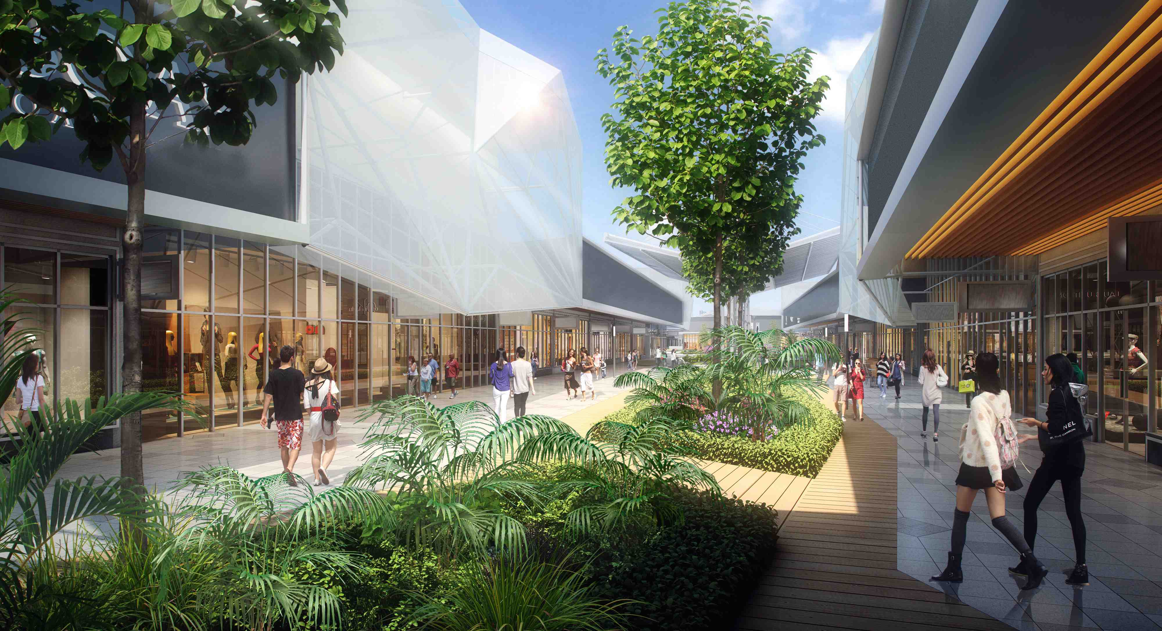 An artist's impression - a street view perspective of Design Village
