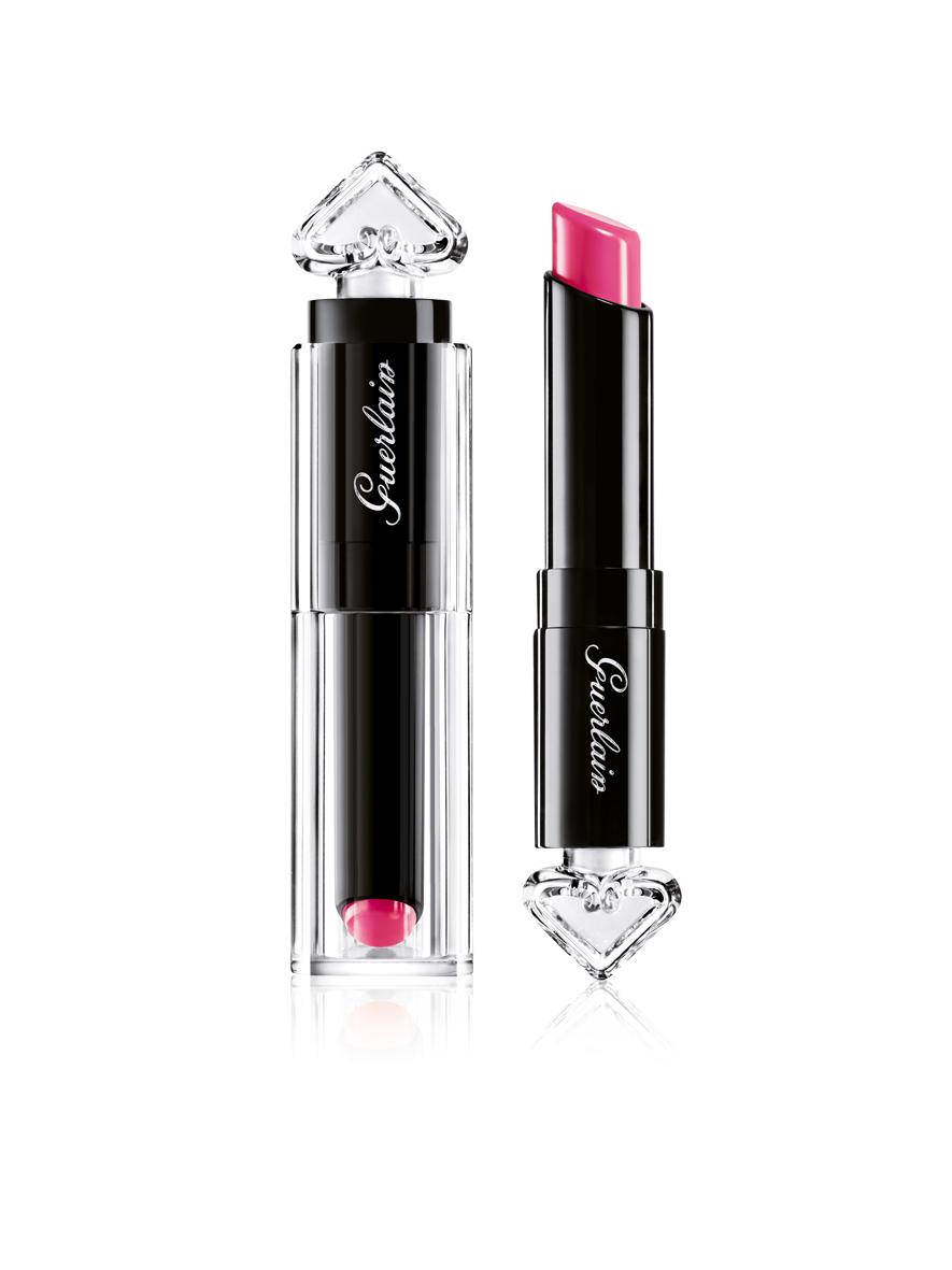Explore build able colour intensity with Guerlain's La Petite Robe Noire Lipstick in Pink Tie, RM 131