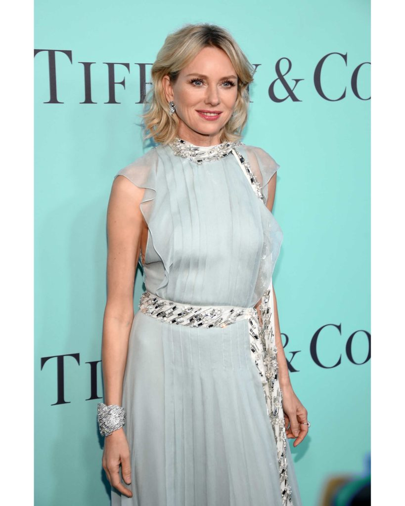 Naomi Watts in jewels from the 2016 Blue Book collection at the premiere of the Tiffany & Co. Blue Book