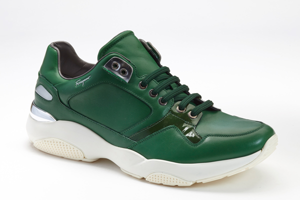 Lisbona lace-up sneaker in moss green; Courtesy of Salvatore Ferragamo