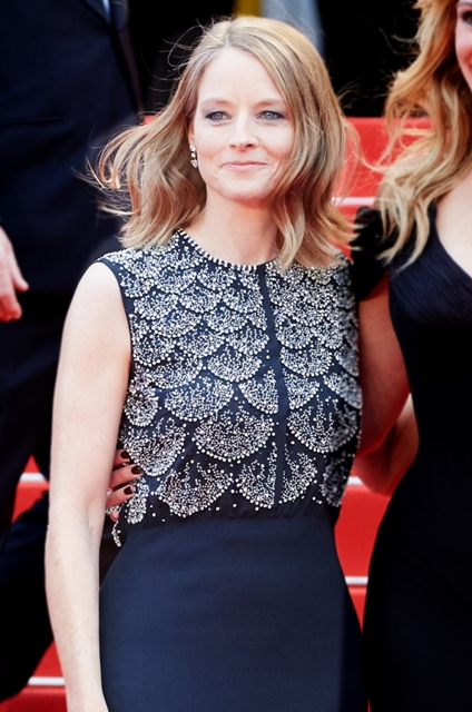 Jodie Foster wore aDiorblue silk crepe dress - Getty Images for Dior