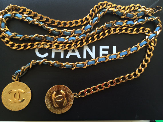 A vintage 1980s Chanel gold chain belt, available on Etsy for RM 4,515.94