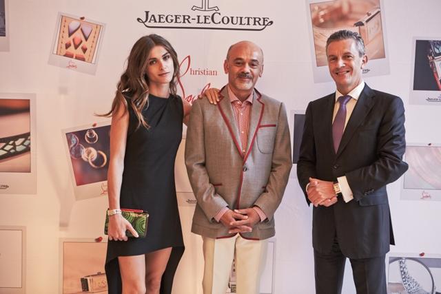 (L to R): Elisa Sedanoui, Christian Louboutin and Jaeger LeCoultre CEO Daniel Riedo