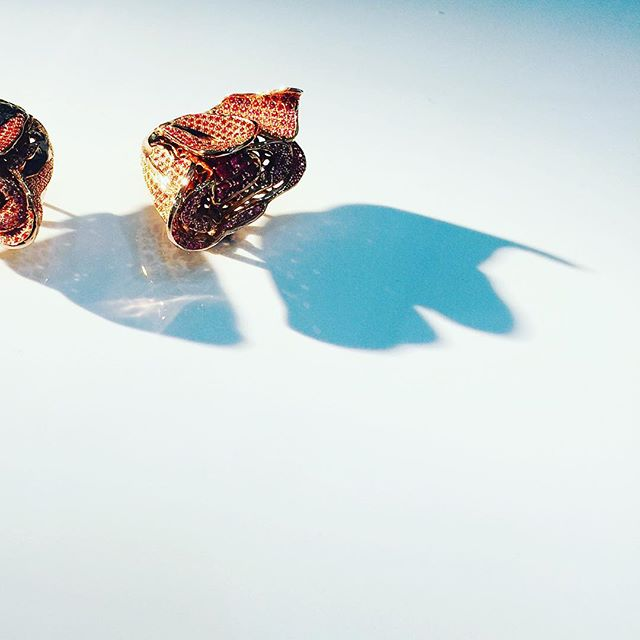 Dried Rose Clip Earrings shown here handmade with Burmese Pink Spinels on 750 Siam Rose Gold #oneoff