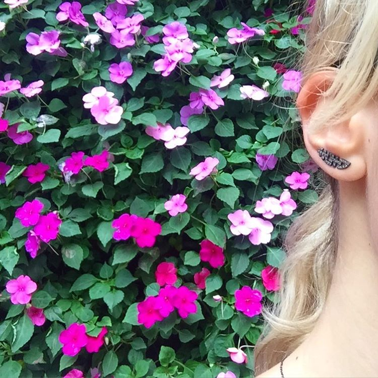 Pudong, Shanghai?Walls of Flowers and Black Rhodium Plated Happiness Earrings with Champagne Diamonds