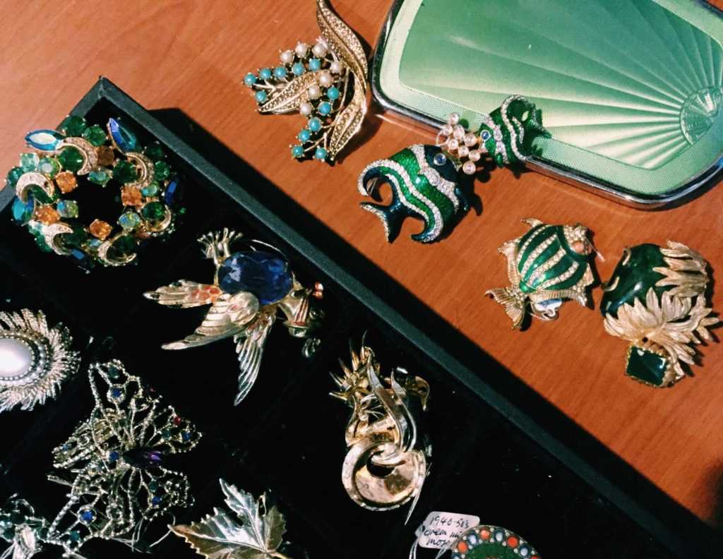 Trinkets are treasures, brooches are among a favourite with the regulars of the showroom