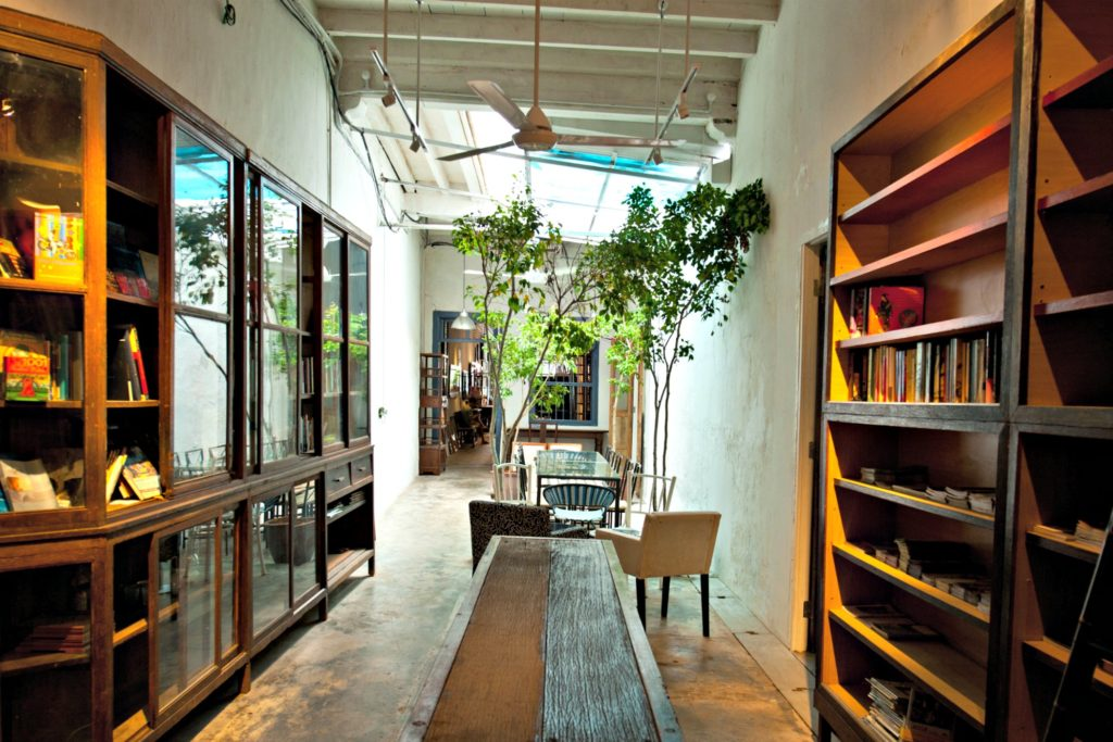The Reading Room in China House boasts a plethora of literature for guests to browse and roam in a land of words.