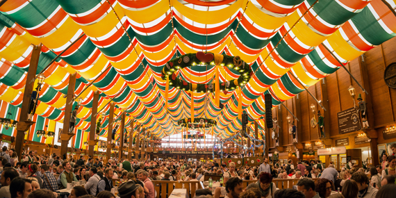 The Hippodrom beer tent on the Theresienwiese Oktoberfest fair grounds in Germany; Image: Shutterstock
