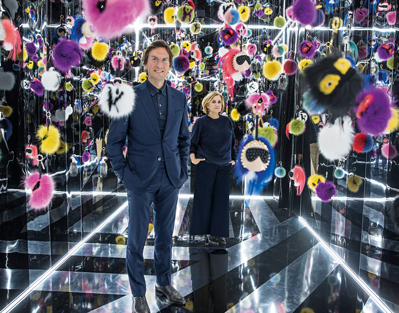 With Pietro Beccari, CEO of Fendi, in the 'Obsession' room of 300 bag bugs