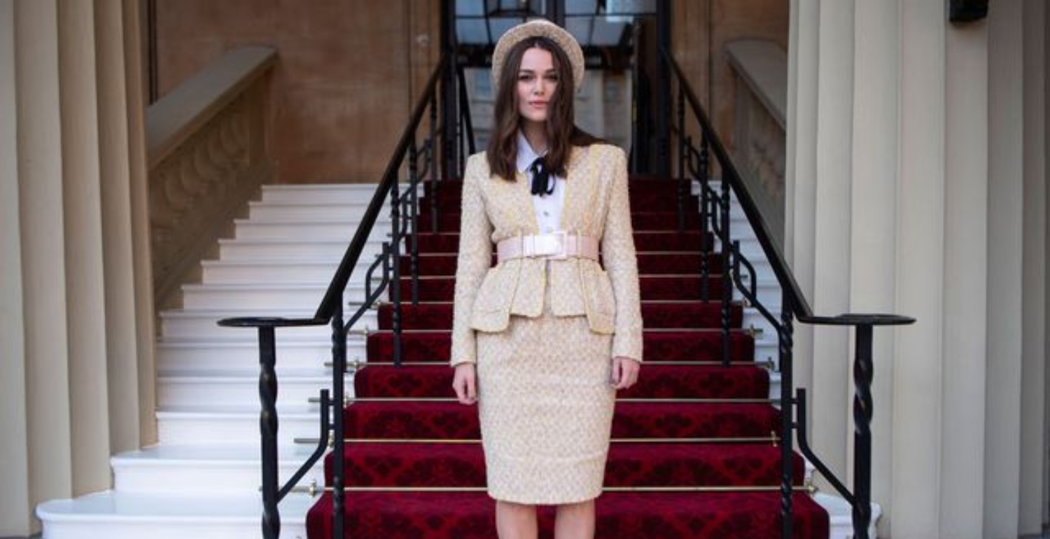 Keira Knightley Wears Chanel Couture To Collect Her OBE At Buckingham Palace