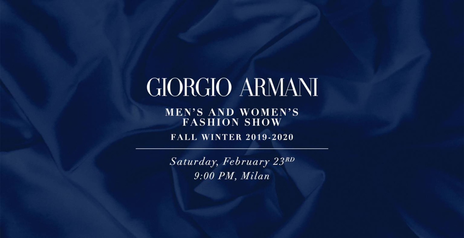 Live From Milan: Giorgio Armani Fall/Winter 2019 Runway Show