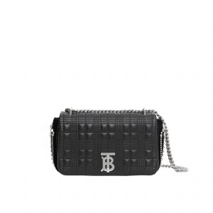 Small Crystal Detail Quilted Check Lambskin Lola Bag
