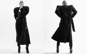 Coat; top; pants; socks; and heels, all from Saint Laurent by Anthony Vaccarello.