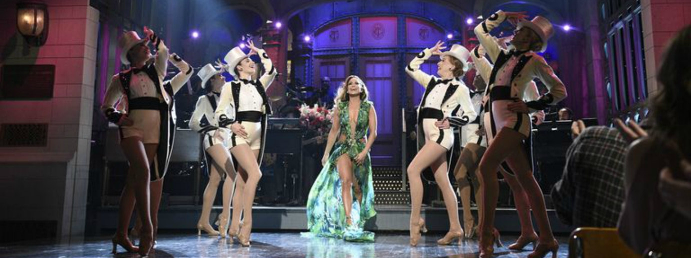 J.Lo Hosted SNL in Her Iconic Versace Palm-Print Gown