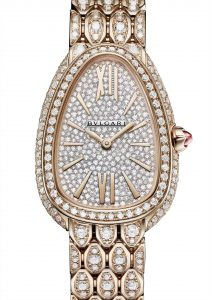 18 karat rose gold case and bracelet, both set with diamonds and full pavé dial.